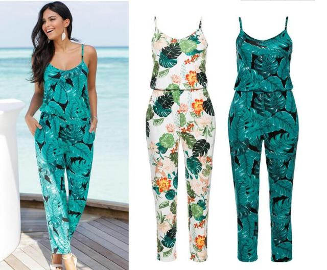 8c580d938462 new Casual New Style 2019 Floral Printed Romper Playsuit jumpsuit women  long pants Beach Casual Siamese