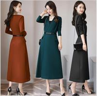 2017 Autumn New Women Long Paragraph Dress Temperament Slim Was Thin Korean Version Of V Neck