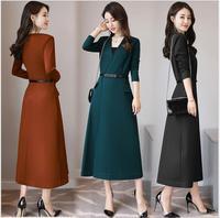 2017 Autumn New Women Long Paragraph Dress Temperament Slim Was Thin Korean Version Of V Neck