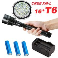 80000Lumens CREE XML 16*T6 Tactical Powerful LED Flashlight Lighting Torch Lantern Flash Light Lamp + 3*18650 Battery + Charger