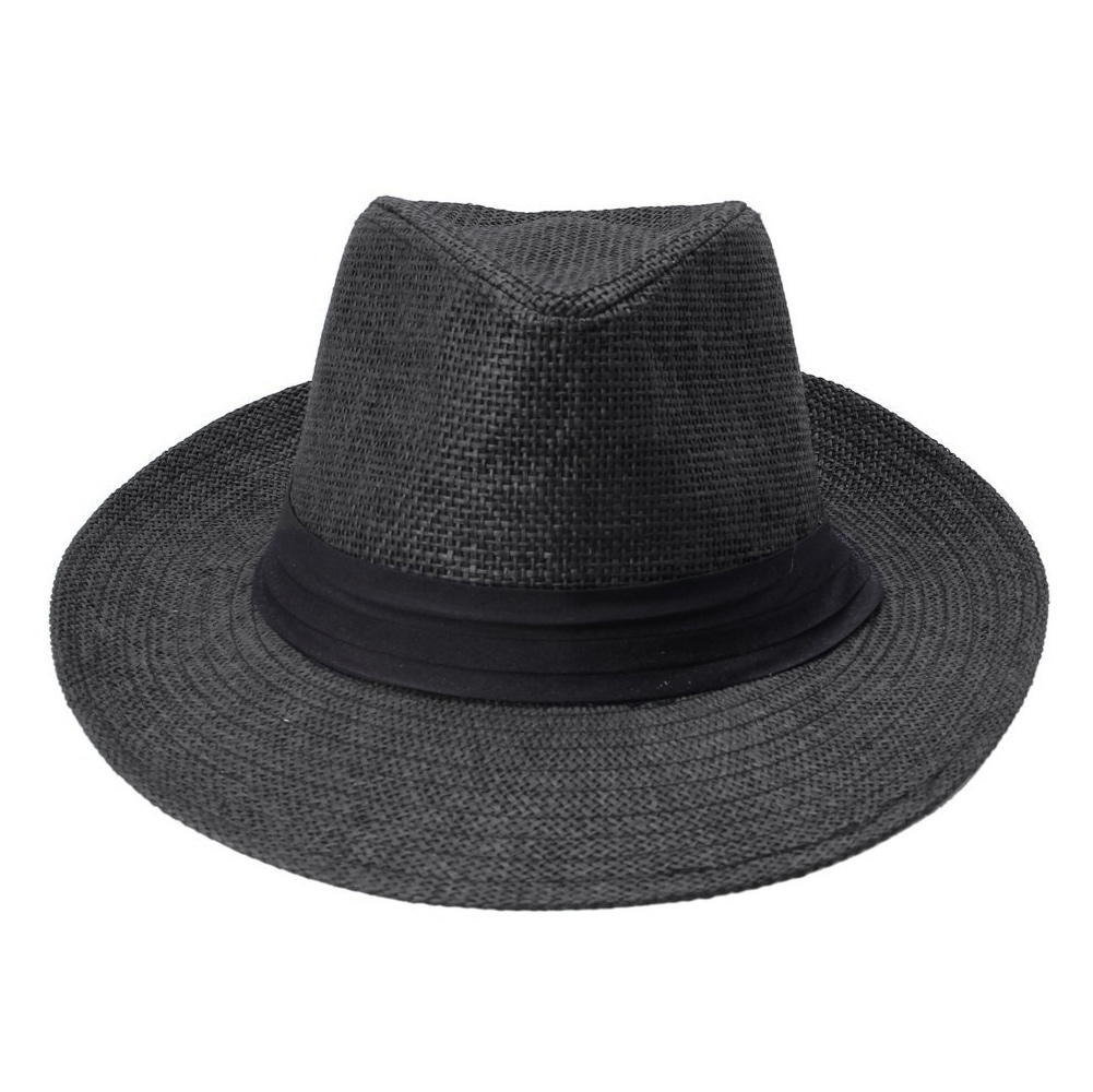 74c4b671877 Fashion Men Women Panama Hat Contrast Color Straw Ribbon Pinched Crown  Rolled Trim Summer Floppy Hat Beach Cap Chapeu Praia