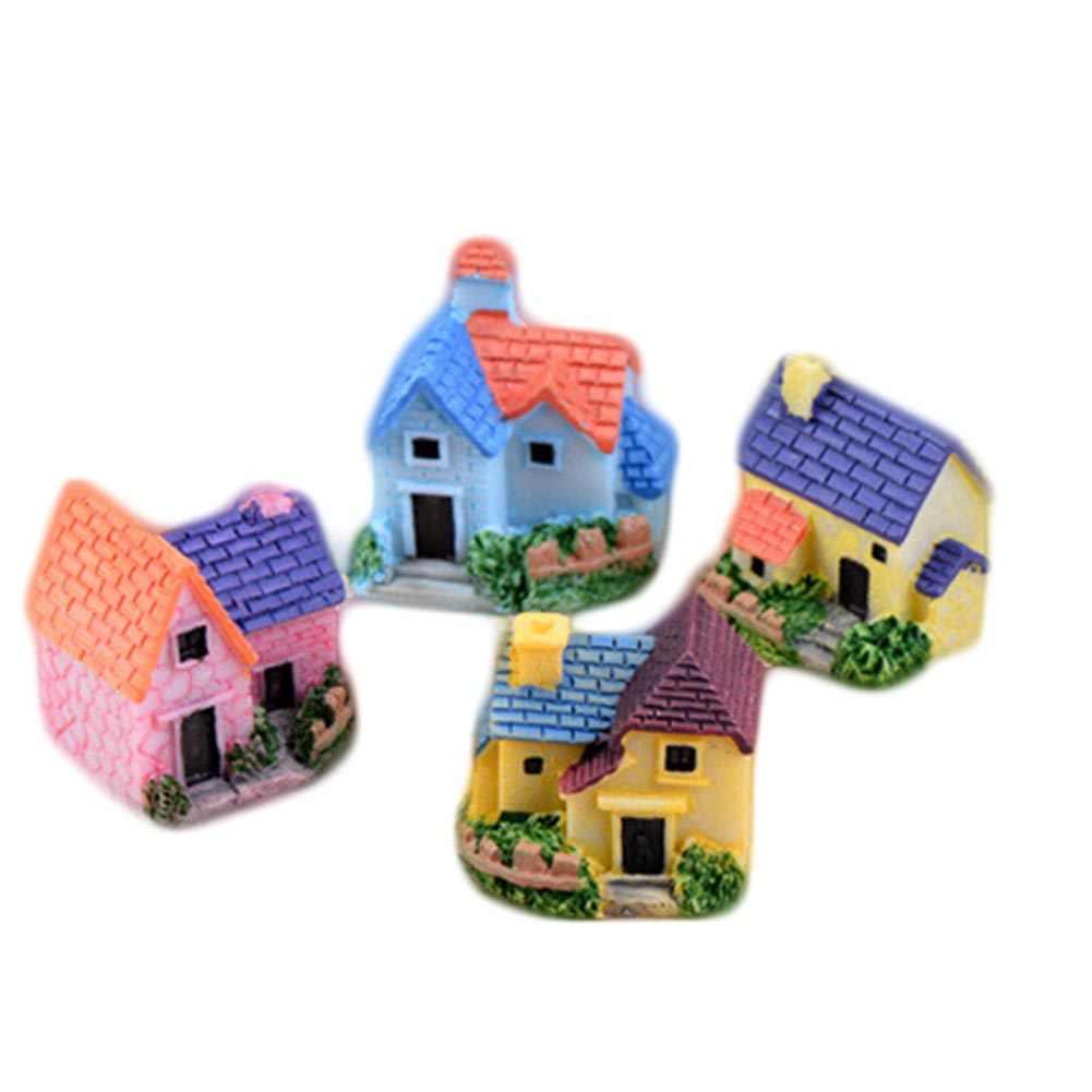 1pcs Color Random Retro Resin House Mini Castle Fairy Garden Miniatures Castles Figurines Garden Decoration Mini villa Woodland