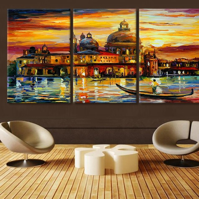 3 Панель современный Wall Art Современные Аннотация отпечатки на холсте Венеция архитектура домашнего декора для гостиной Модульная картина работ