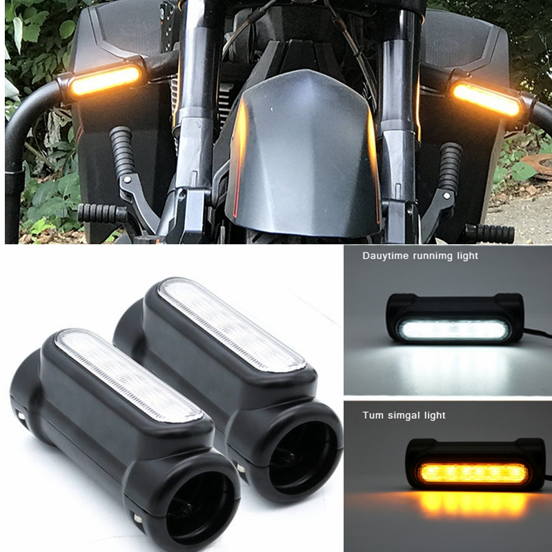 "Motorcycle LED 32mm-30mm 1 1//4/"" Highway Crash Bar Turn Signal For Harley Victory"