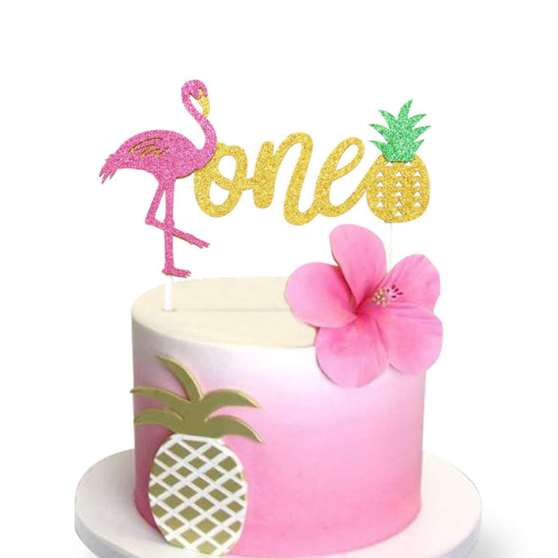 2 pcs/set Creative new Flamingo Pineapple one Cupcake Topper for Kids one year old Birthday Cake Decoration Props Party Supplies