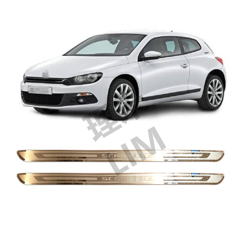 Suitable for Volkswagen VW Scirocco R MK3 2009 2011 2012 Stainless Steel Scuff Plate Door Sill Cover Sticker Car Accessories hot sale abs chromed front behind fog lamp cover 2pcs set car accessories for volkswagen vw tiguan 2010 2011 2012 2013