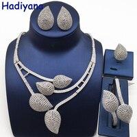 Nankiya New Leaves Design Bridal Jewelery Set Clear White Cubic Zirconia Fashion Nigerian Jewelry Accessory Sets For Women NC757