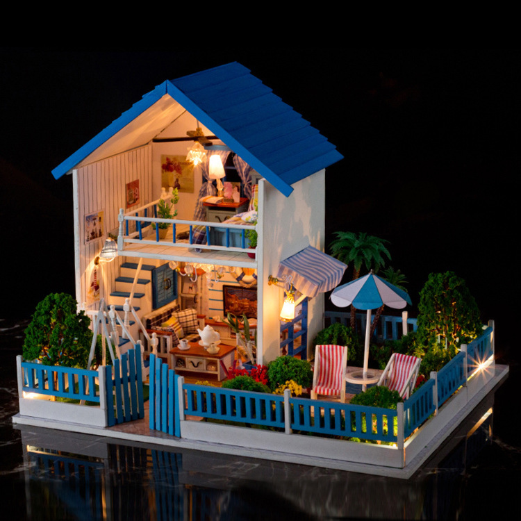 Blue dream villa tropical style diy doll house 3d for Decoration maison aliexpress