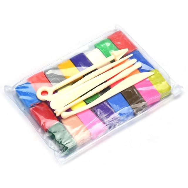 5 Инструменты + 24 Цветов 3.7X2.1X1.0 cm Polymer Clay Fimo Блочного Моделирования Литья DIY Игрушки Подарок Для девушки Парни Глины Блок Литья