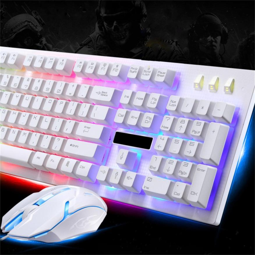 Led Keyboard Mouse Set Rainbow Color Backlight Adjustable Gaming Game Usb Wired Practical Keyboard Mouse Set Access Control