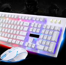 Binmer Gaming Keyboard G20 LED Rainbow Color Backlight Game USB Wired Keyboard Mouse Set td15 Drop Shipping