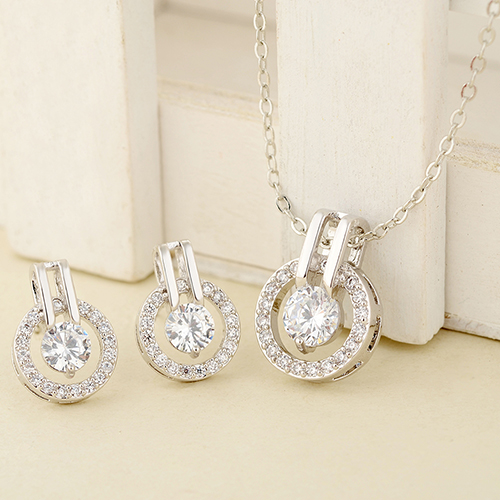 Necklace Earrings Chain Zircon Wedding-Jewelry-Set Pendent Choker Women's Fashion Round