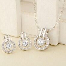 Новое поступление, Женский циркониевый круглый кулон, колье, цепочка, ожерелье, серьги, свадебный ювелирный набор, Модный выбор лидеров