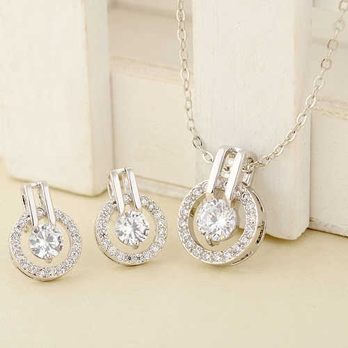 New Arrival Women's Zircon Round Pendent Choker Chain Necklace Earrings Wedding Jewelry Set Fashion Leader' Choice