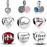 100 Authentic 925 Sterling Silver Family Dad Mum Charm Beads Fit Pandora Bracelet Pendants DIY Original
