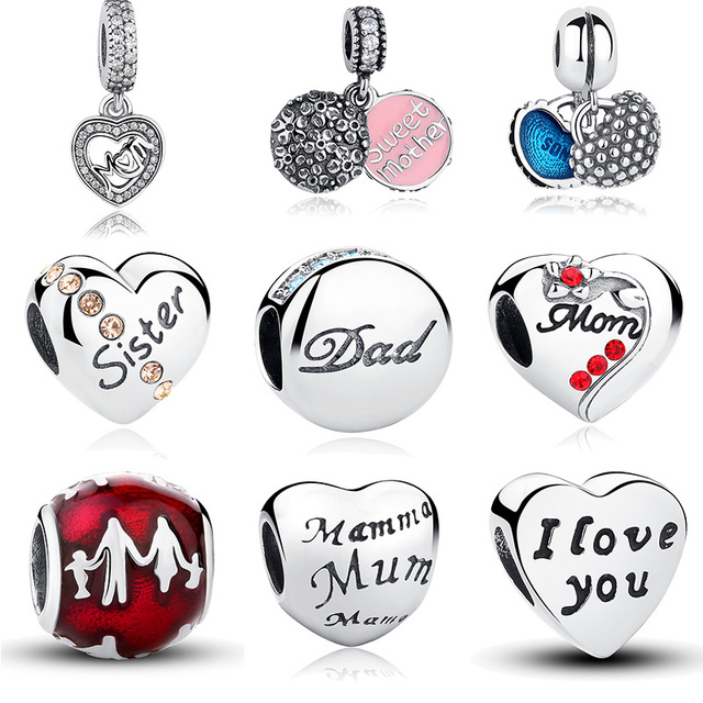 925 Sterling Silver Family Charm Pendants