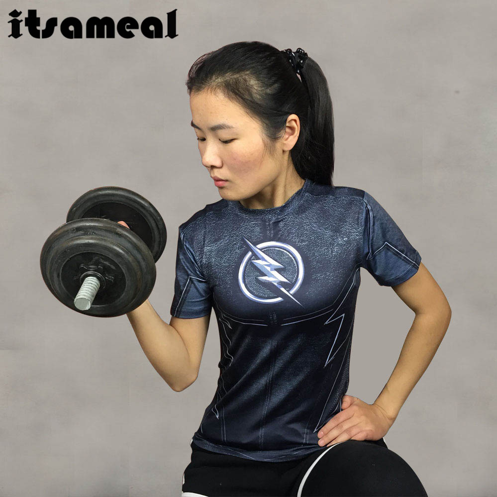 Compression Shirt ZOOM Flash 3D Printed T Shirt Women Ladies Raglan Short Sleeve Cosplay Costume Fitness Tops Female Clothes