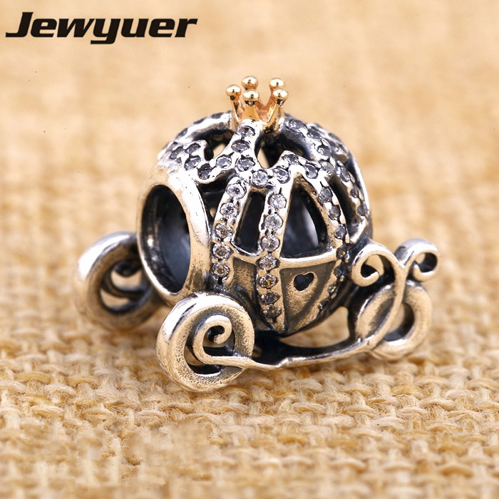 Pumpkin carriage charms 925 Sterling Silver jewelry Charm with Gold Fine jewelry Fit brand beads Bracelets DIY making MN520Pumpkin carriage charms 925 Sterling Silver jewelry Charm with Gold Fine jewelry Fit brand beads Bracelets DIY making MN520