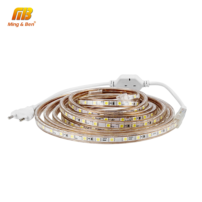 [MingBen] LED Strip 2M 3M 4M 5M 10M AC110V 220V SMD5050 Waterproof 60LEDs/m High Brightness Outdoor Lighting For Christmas Light