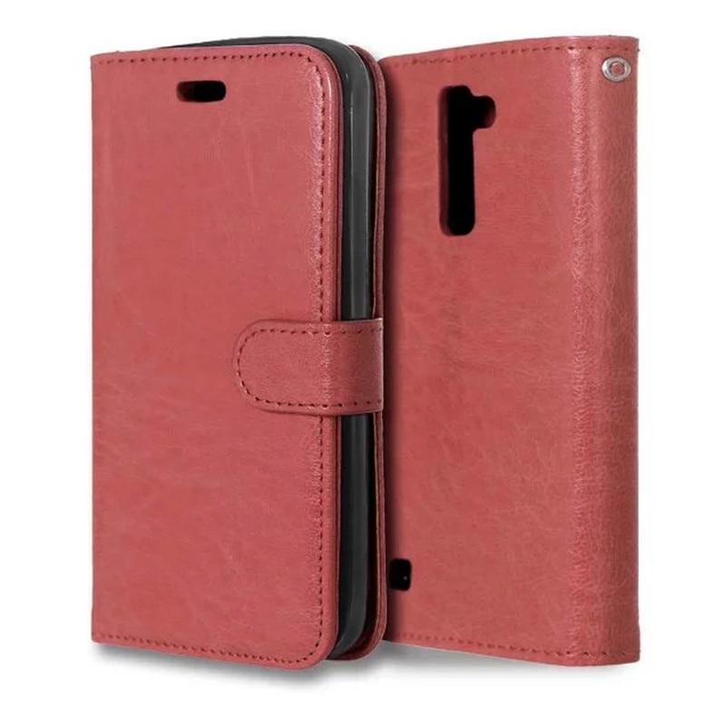 Crazy Horse Flip Leather Wallet Case Cover För LG K10 tillbaka med - Reservdelar och tillbehör för mobiltelefoner