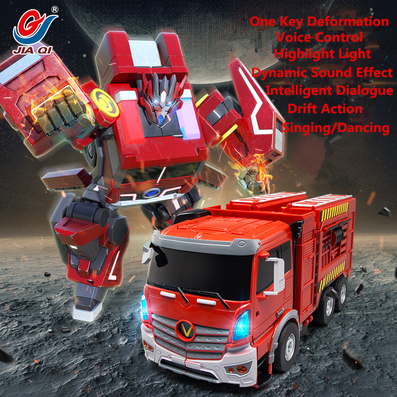 Hot Sell Large Electric One Key Deformation RC Truck Robot JD6608 2.4G Voice Control Metamorphic fire truck Kids toys Model
