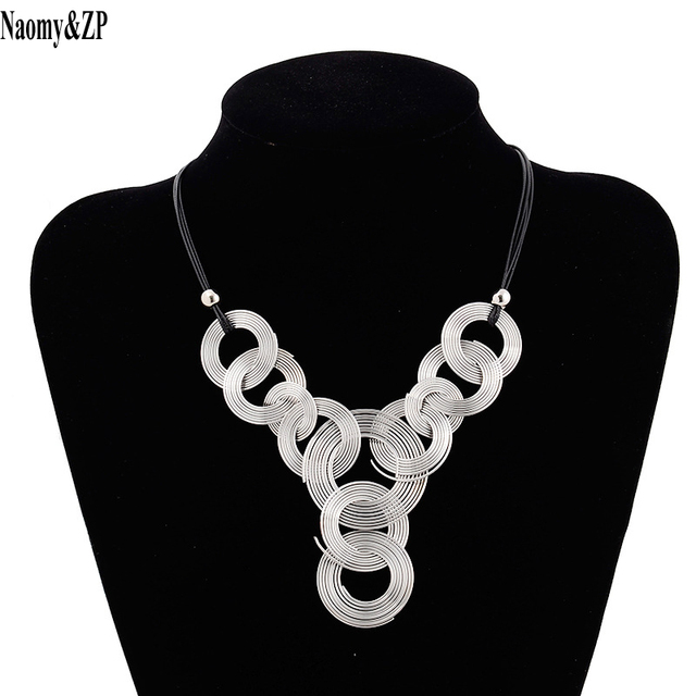Naomy&ZP Leather Chain Weave Circle Metal Wire Chokers Colares ...