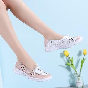 Image 3 - STQ 2020 yaz kadın Flats hakiki deri ayakkabı bale daireler üzerinde kayma balerinler Flats kadın Moccasins düz loafer ayakkabılar 7737