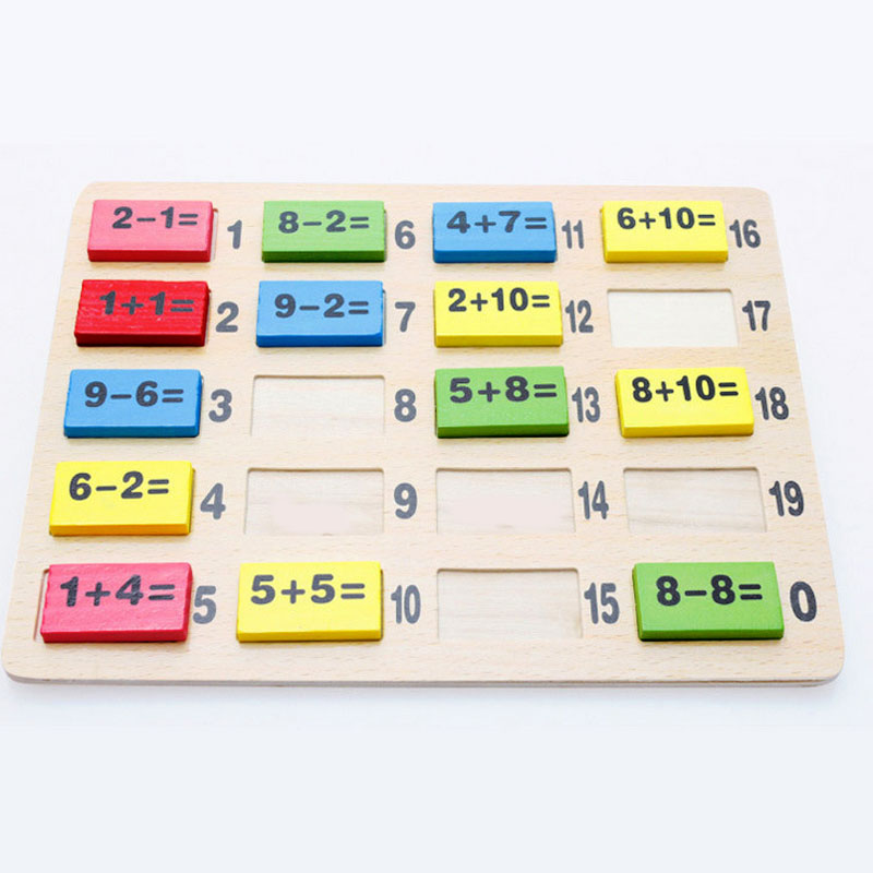 110 Pcs/Set Wooden Multicolor Number Domino Blocks Children Educational Math Learning Cognitive Match Development Baby Kids Toys