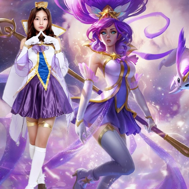 Hot Sale LOL Star Guardian Magical Girl Janna Games Cosplay Costumes Halloween Stage Performance Dress Lovely Mini Party Gowns