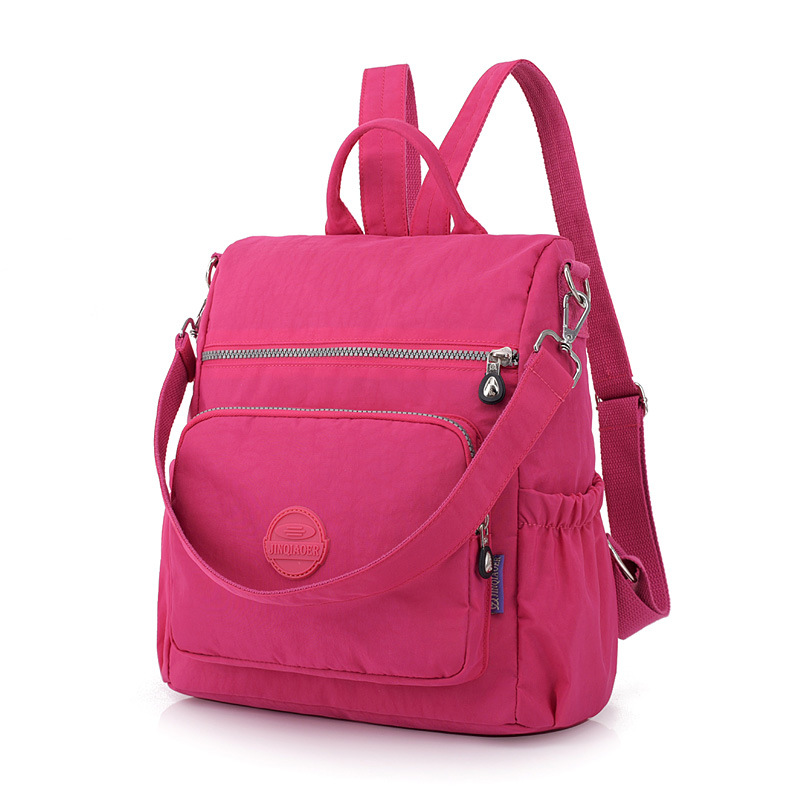 School-Backpack Computer Classic Teenage-Girls Casual Nylon No Solid for Women Famous