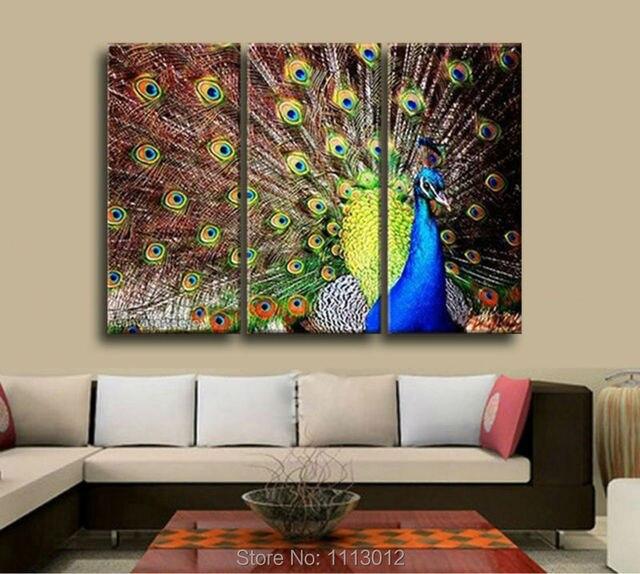 AuBergewohnlich Mode Moderne Pfau Open Screen Ölgemälde Wandbilder Für Wohnzimmer Home  Decoration Abstrakte Kunst 3 Panel Set