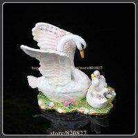Creative Heavy Duty Pewter Crystal Enamel Swan Keepsake / Trinket Box Jewelry Box Swan Family Pewter Metal Figurine Trinket Box