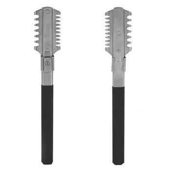 1Pc wysokiej jakości stal nierdzewna mężczyzna prosto nóż do golenia trymer przecinka cięcia gładka krawędź Razor grzebień Salon narzędzie do usuwania włosów tanie i dobre opinie TMISHION CN (pochodzenie) Trymer do nosa i uszu Approx 17cm 6 7inch Thinning Razor Comb Stainless Steel Approx 5 x 2 7 x 0 6cm 1 97 x 1 1 x 0 2inch