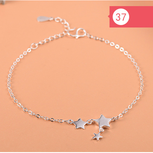 925 Sterling Silver Flower Star Charm Bracelet For Women Girls Luxury Brand Heart Cute Anklet Jewelry Pulseras Mujer 2