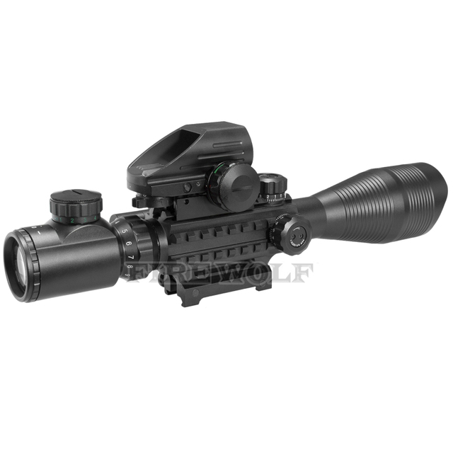FIRE WOLF 4-12x50 Illuminated Rangefinder Reticle Rifle Scope Holographic 4 Reticle Sight 11mm 20mm Red Laser Combo Riflescope 3
