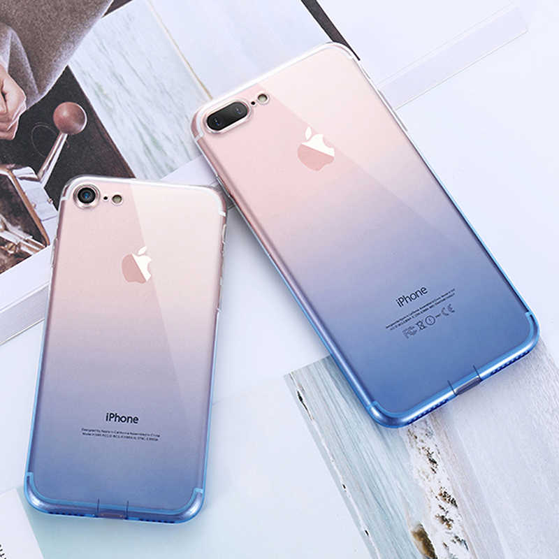 التدرج اللون لينة سيليكون واضح خزائن هاتف آيفون 11 برو XS ماكس XR X 10 8 7 6 6s زائد رقيقة جدا سليم غطاء شفاف