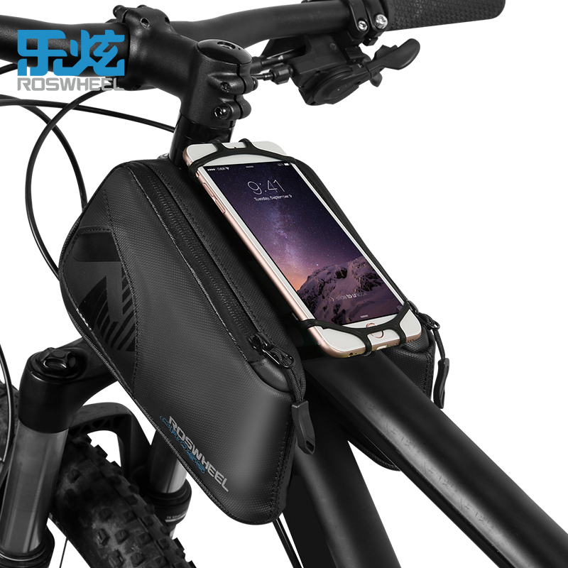 ROSWHEEL CROSS series cycling bike bicycle top tube bag for 4.0-6.7 inch phone accessories waterproof 1680D nylon roswheel attack series waterproof bicycle bike bag accessories saddle bag cycling front frame bag 121370 top quality