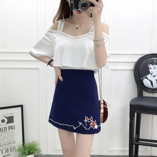 402c92762 US $39.88 |new summer 2018 sexy top & skirt Korean fashion suits chiffon  blouse skirts two piece outfit girl vestido lady cute clothing set-in  Women's ...