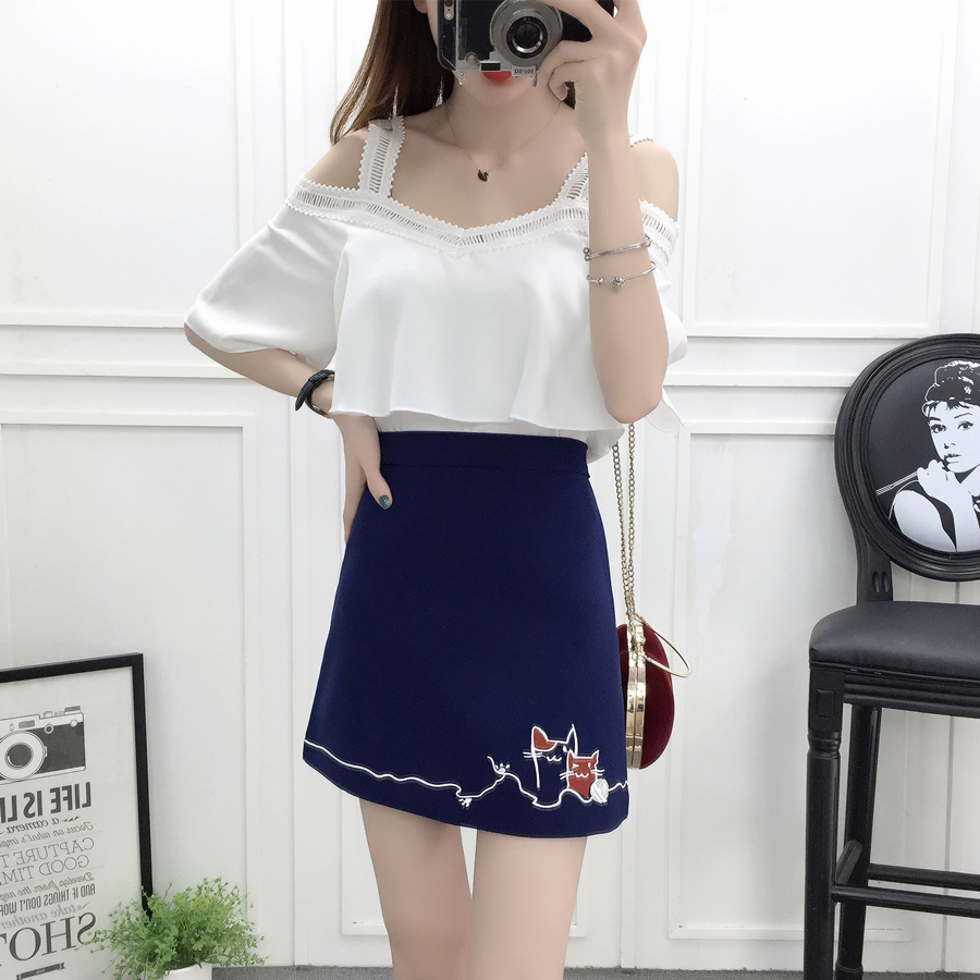 new summer <font><b>2018</b></font> <font><b>sexy</b></font> <font><b>top</b></font> & skirt Korean fashion suits chiffon blouse skirts two-piece outfit girl vestido lady cute clothing set image