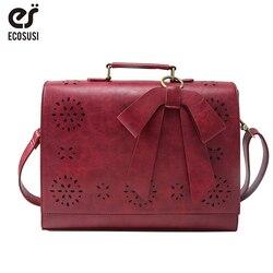 ECOSUSI сумка для ноутбука 14 дюймов, женские сумки, женская сумка-мессенджер из искусственной кожи, винтажная сумка, роскошная брендовая сумка, ...