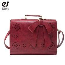 ECOSUSI Laptop Bag 14 Inch Women Bags Hollow Handbag Women Messenger PU Leather