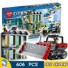606pcs City Police Bulldozer Break-In Model Building Blocks 02019 Assemble Bricks Children Toys Station Compatible With Lego