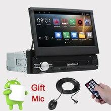 Ритм один 1 Din Android 6,0 4 ядра Универсальный Автомобильный gps Мультимедиа 7 дюймов емкостный кассетный плеер Bluetooth выдвижной