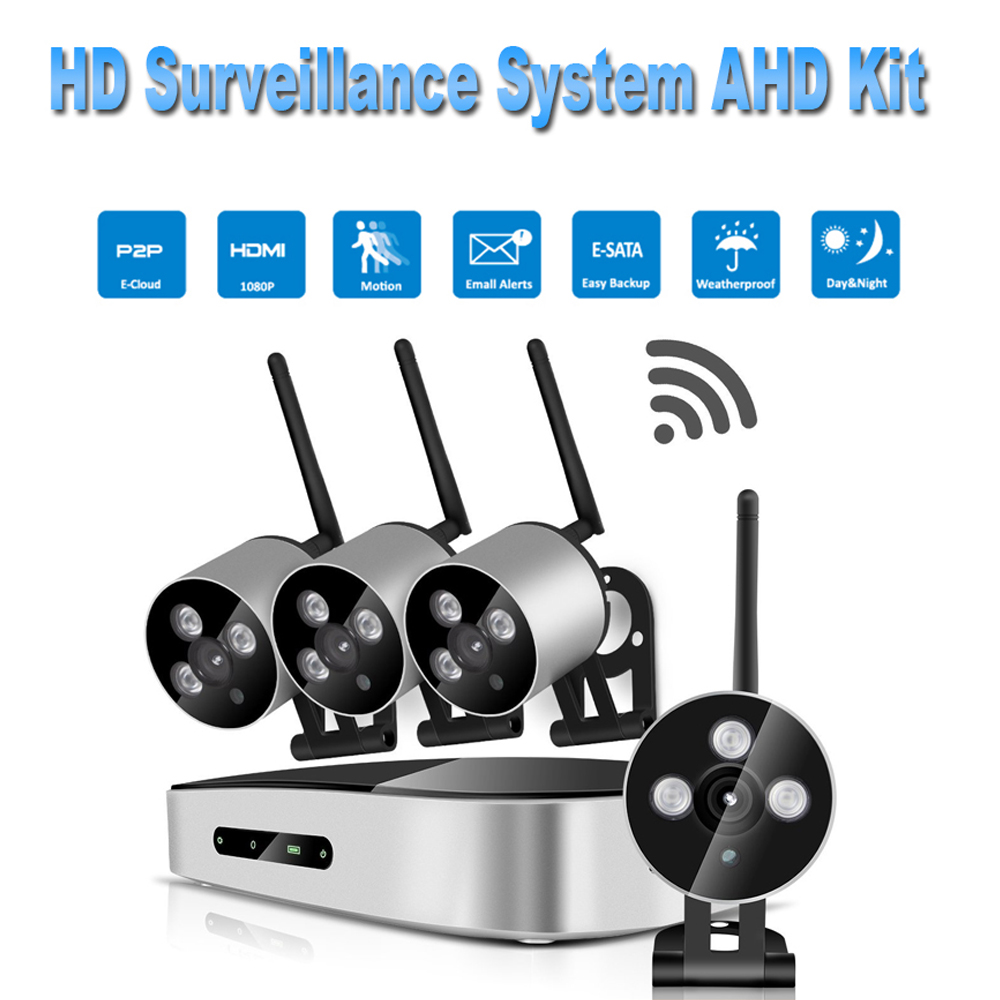 PUAroom 4CH IP Full HD IP66 waterproof security cameras with RoHS FCC CE approved H.264 NVR swann security camera system