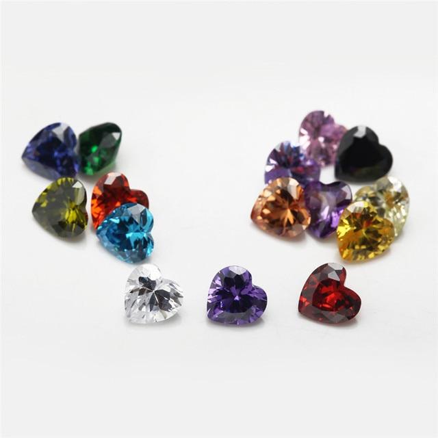 Купить 15 шт синтетический фианит в форме сердца размеры s 4x4 ~ 9x9 картинки
