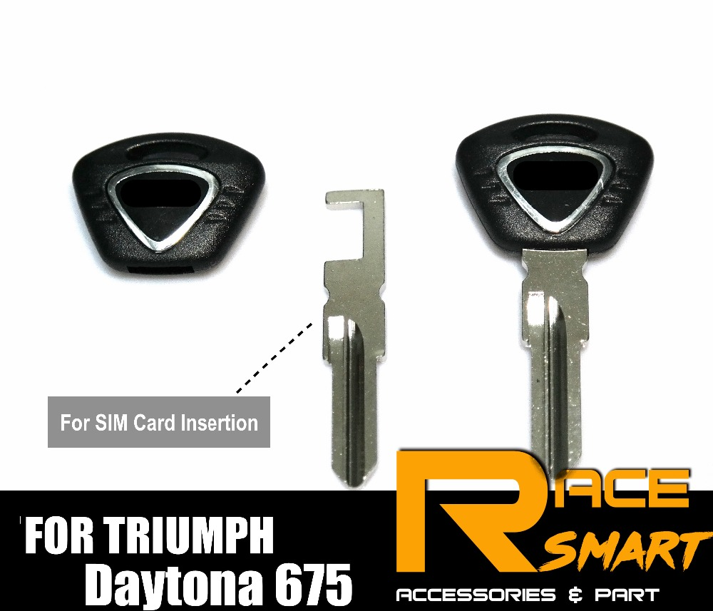 Motorcycle Uncut Blank Key For TRIUMPH Tiger 1050 Speed Triple 1050 Daytona 675 Street Triple 675 Black Blade Keys Rings