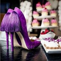 Tamaño grande 33-42 púrpura volver franja superficial Bombas para las mujeres atractivas punta estrecha Tacones altos señoras boda banquete Bombas zapatos mujer