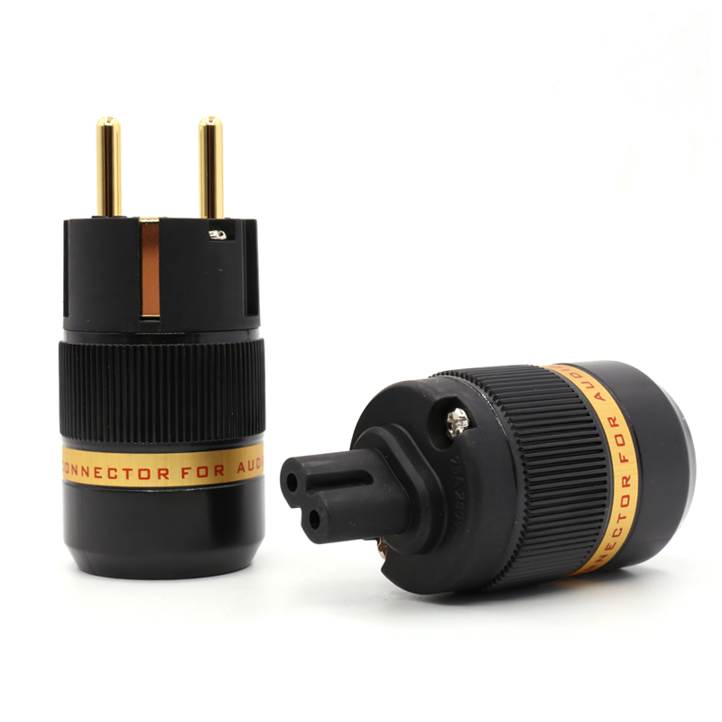 Free shipping one pair 99 999 pure copper 24K gold Plated EUR Schuko EU Power Plug