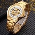 Novo Luxo Relógios de Ouro Homens Famosa Marca SHENHUA Esqueleto Relógios Para Homens relógio Mecânico Automático Relógio Masculino À Prova D' Água À Prova de Choque