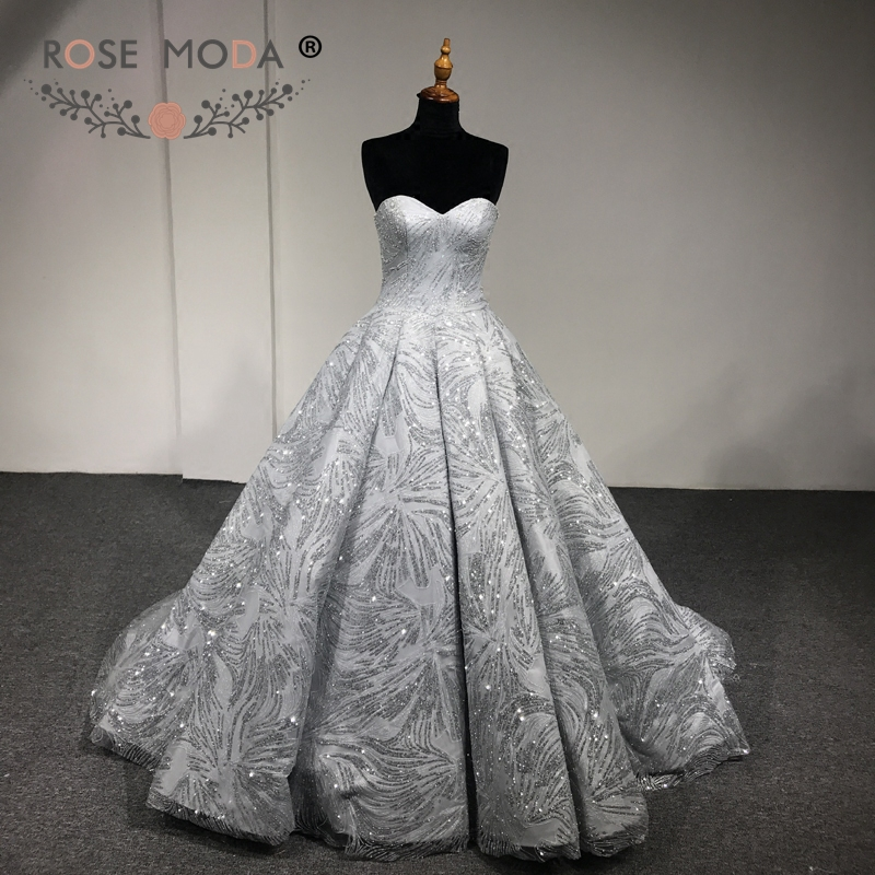 Rose Moda Luxury Gold Silver Glitter Wedding Dress 2018 Strapless Bling  Wedding Ball Gown Arabic Wedding f76ee922d503